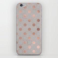 Rosegold polkadots on grey backround 1 iPhone & iPod Skin