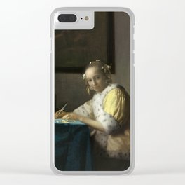 A Lady Writing Oil Painting by Johannes Vermeer Clear iPhone Case