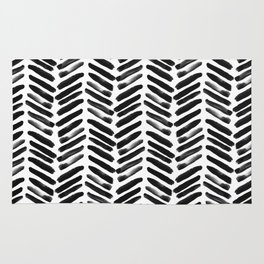 Simple black and white handrawn chevron - horizontal Rug