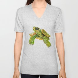 Baby Turtle, Green, Yellow Olive Green Children Unisex V-Neck