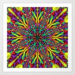 Crazy colors 3D mandala Art Print