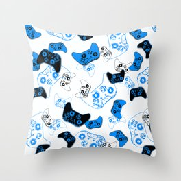 Video Game White and Blue Throw Pillow