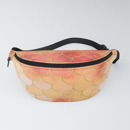 Apricot & Gold Mermaid Scale Pattern Fanny Pack