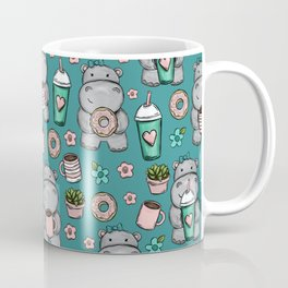 Cute Little Hippo, Lattes and Donuts, Pink and Blue Illustration, Happy Hippopotamus, For Girls Coffee Mug