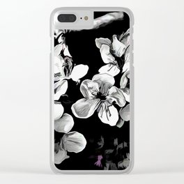 Spring Time Blossoms In Black And White Clear iPhone Case