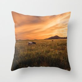 Longhorn Sunset Throw Pillow