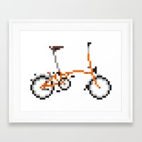 brompton Framed Art Prints featuring Pixel Art Brompton bicycle - Orange by PixelArtM