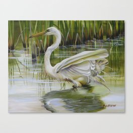 Bayou Caddy Great Egret Canvas Print
