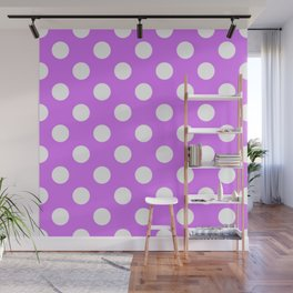 Heliotrope - violet - White Polka Dots - Pois Pattern Wall Mural