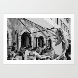 New in town, street photography, black and white, street scene, urban, photography, city, streets Art Print