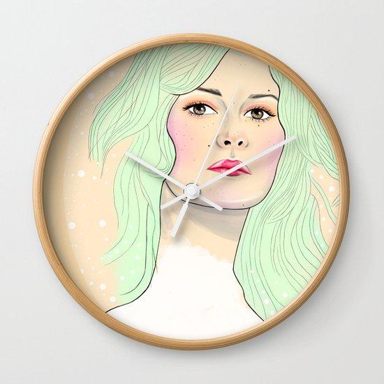 Green Hair Girl Wall Clock