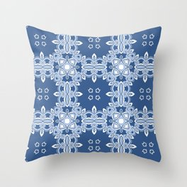 Kitty in a Blue Shoe Print Two Throw Pillow