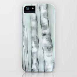Birch trees in winter iPhone Case