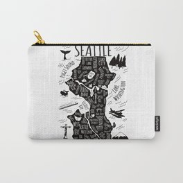 Seattle Illustrated Map in Black and White - Single Print Carry-All Pouch