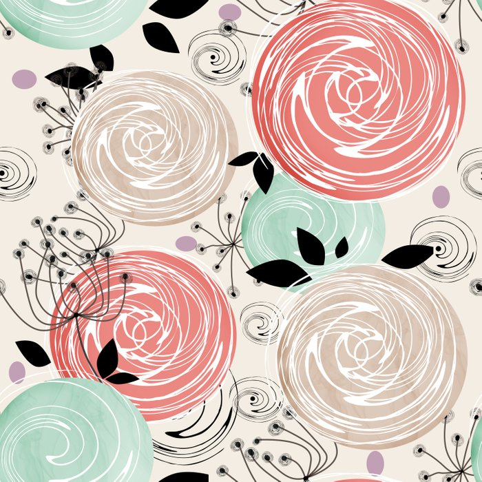 Retro . Abstract floral pattern. f Comforters