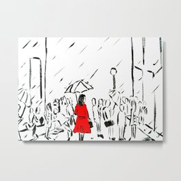 The Girl In The Red Rain Coat (Part 1)  Fine Art Acrylic Painting Metal Print