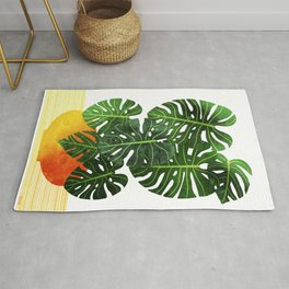 Monstera Swiss Cheese Plant In Mid Century Pot Rug
