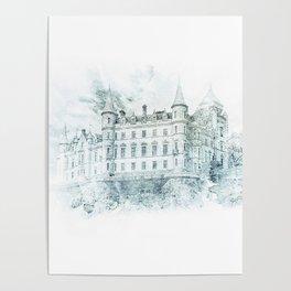 Watercolor Castle Blue Poster