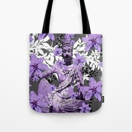 CHINA ANTIQUITIES YESTERDAY MEETS TODAY IN PURPLE AND WHITE Tote Bag