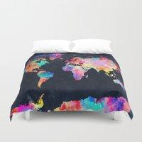 world map Duvet Covers featuring World map by Bekim ART