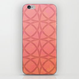 coral pink minimal pattern with geometric lines iPhone Skin