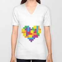 tetris V-neck T-shirts featuring Tetris Heart by Shannon's Sketchfest