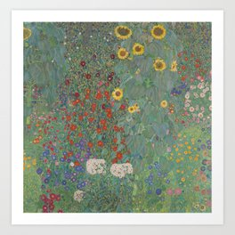 Farm Garden with Sunflowers by Gustav Klimt Art Print