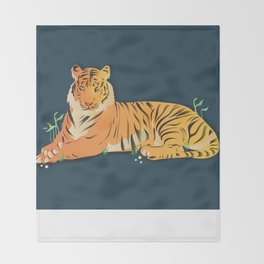 Tiger At Rest Throw Blanket