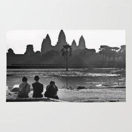 Three amigos enjoying the view of Angkor Wat Rug