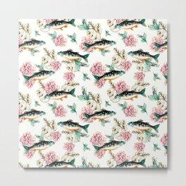 Fish in a sea of flowers Metal Print