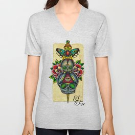 Fetal Skulls and Dagger Unisex V-Neck