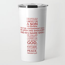 Unto Us - Cross Scripture RED Travel Mug