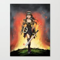 xena Canvas Prints featuring Xena by Mr. Chuckles