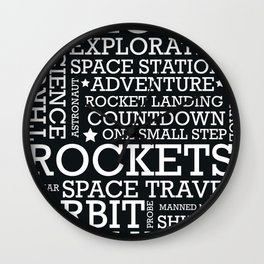 Space Text inspirational poster. Wall Clock