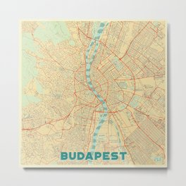 Budapest Map Retro Metal Print