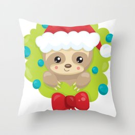 Christmas Sloth in a Christmas Wreath Throw Pillow
