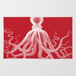 Octopus | Red and White Rug