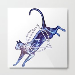 Astral Skeleton Cat Metal Print