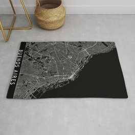 Buenos Aires Black Map Rug