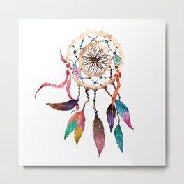 Native American Boho Vibrant Watercolor Beaded Dreamcatcher Metal Print