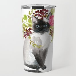 cat with flower crown Travel Mug