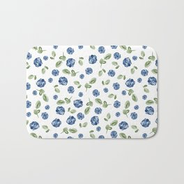 Blue Florals // Hand Painted Watercolors // Deep Blue and Leaf Green Bath Mat