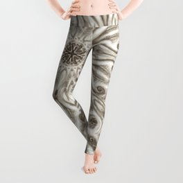 off white sepia swirl mandala Leggings