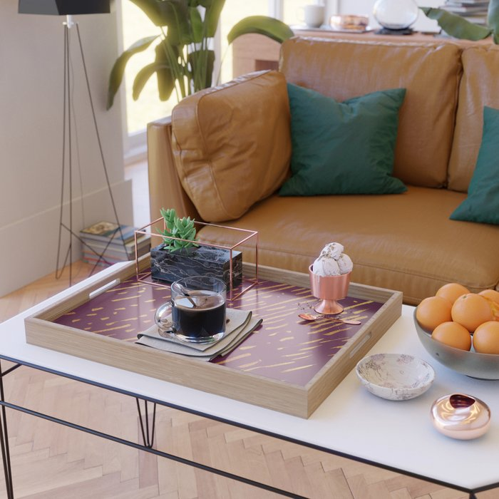 Fuchsia Golden Stripes Serving Tray