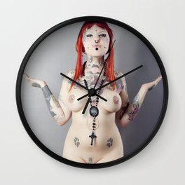 Cat Meow Tattoo Model Wall Clock
