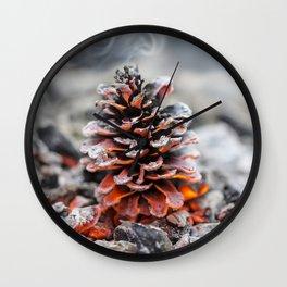Winter Pinecone Wall Clock