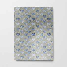 Blue Hearts On Grungy Grey Metal Print