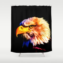 bald eagle 03 neon lines meteor Shower Curtain