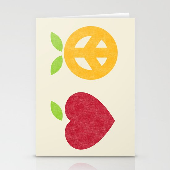 Apple and Orange - Love and Peace Stationery Cards