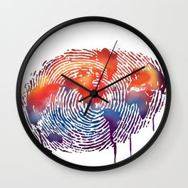 global map finger print Wall Clock
